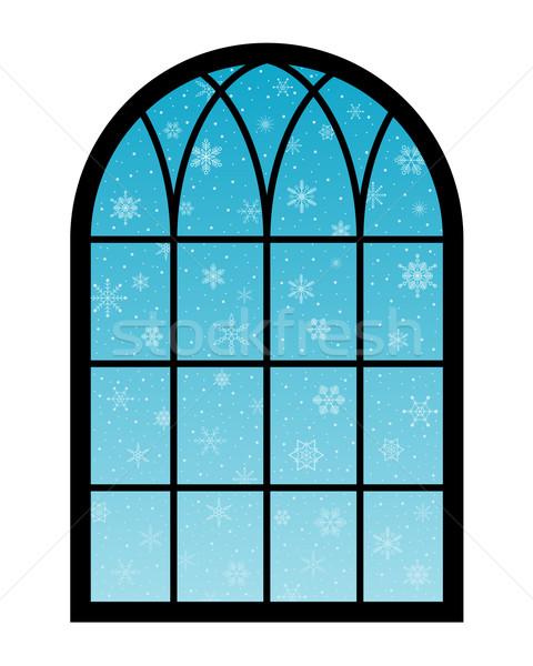 Janela flocos de neve atrás azul abstrato neve Foto stock © toponium