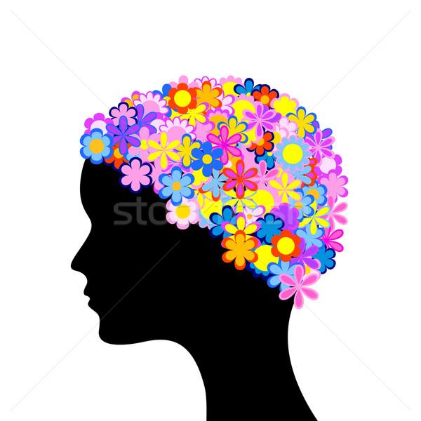 Foto stock: Mulher · cabeça · flores · silhueta · flor · cara