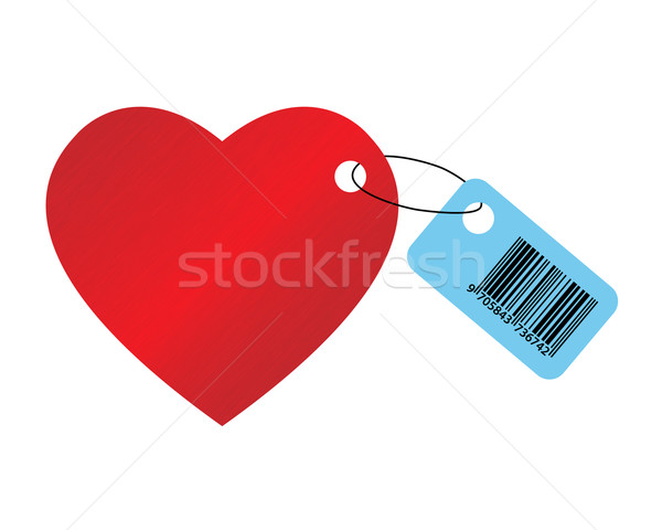 Kalp kod büyük kırmızı beyaz kâğıt Stok fotoğraf © toponium