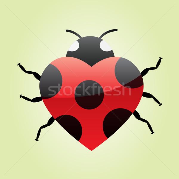 Coração joaninha grande vermelho verde casamento Foto stock © toponium