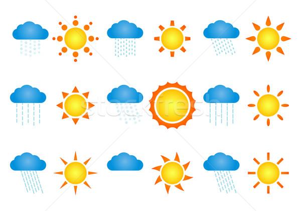 Bulutlar ayarlamak farklı hava durumu simgeler gökyüzü Stok fotoğraf © toponium