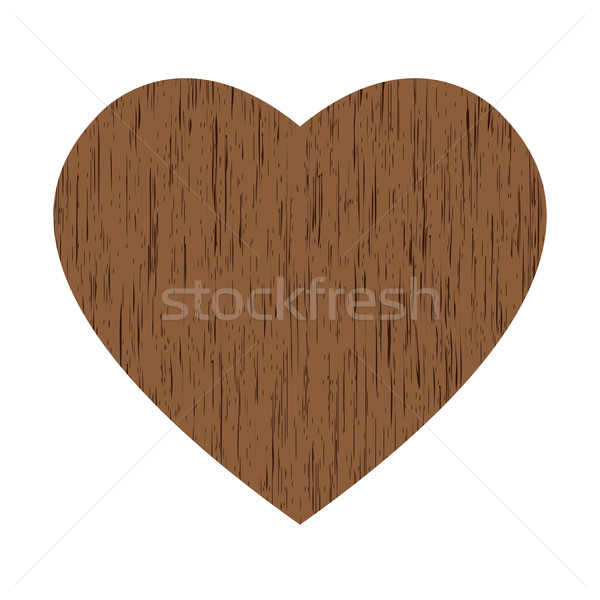 Bois coeur grand brun blanche mariage Photo stock © toponium