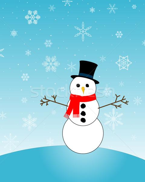 Boneco de neve colina azul flocos de neve abstrato neve Foto stock © toponium