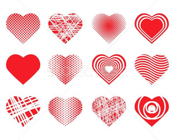 Conjunto corações coleção vetor casamento amor Foto stock © toponium