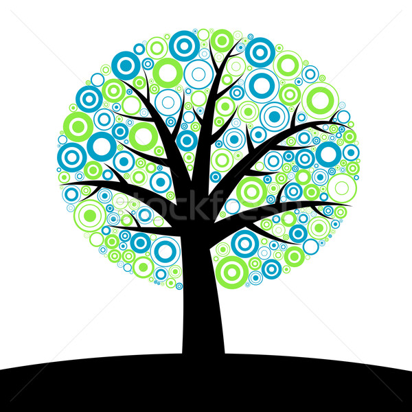 Abstrato árvore silhueta círculos primavera madeira Foto stock © toponium