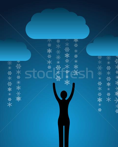 Kadın kar soyut bulutlar mutlu doğa Stok fotoğraf © toponium