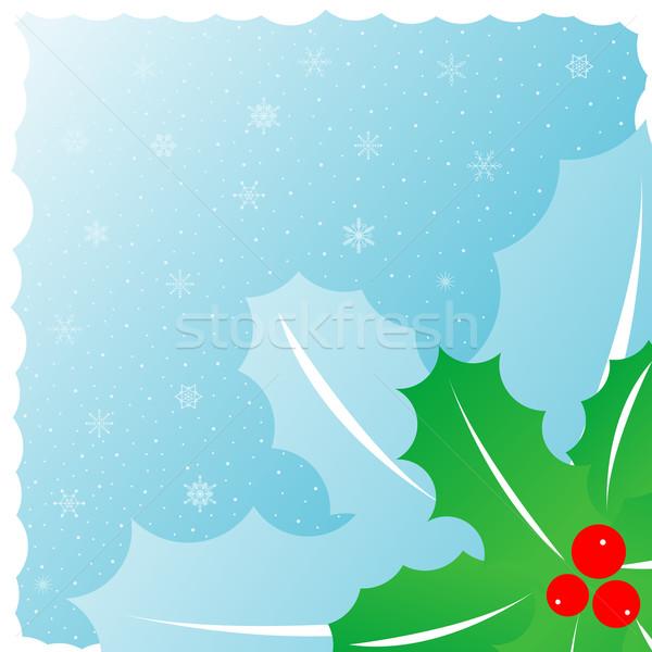 Foto stock: Visco · verde · azul · flocos · de · neve · árvore · projeto