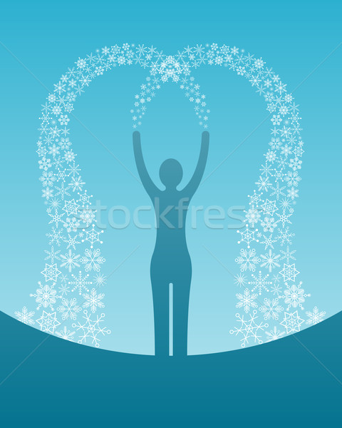 Stock photo: woman with snowflakes