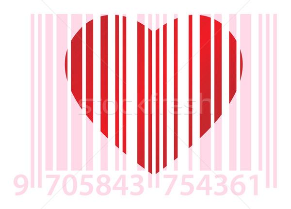 Pembe kalp kırmızı beyaz kâğıt sevmek Stok fotoğraf © toponium