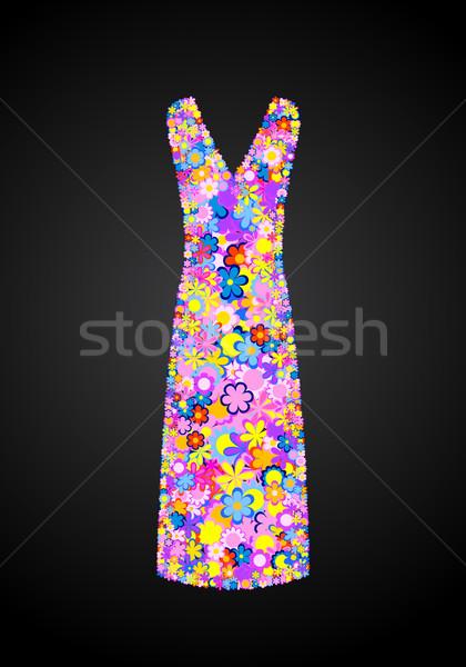 çiçek elbise zarif uzun kapalı düğün Stok fotoğraf © toponium