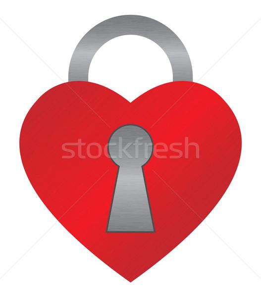Kırmızı kalp kilitlemek büyük Metal sevmek Stok fotoğraf © toponium