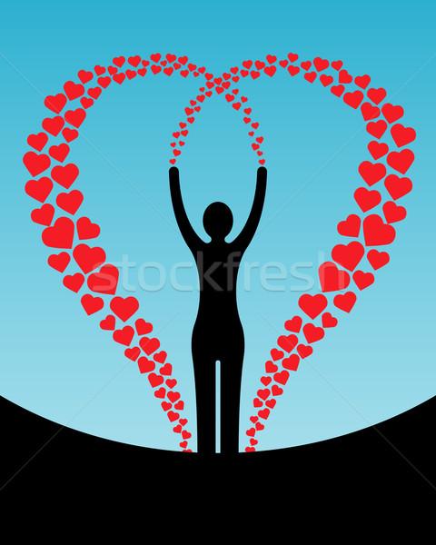 Mulher corações abstrato silhueta córrego feliz Foto stock © toponium