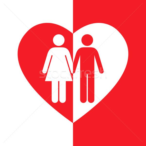 Aşıklar kalp kırmızı beyaz siluet soyut Stok fotoğraf © toponium