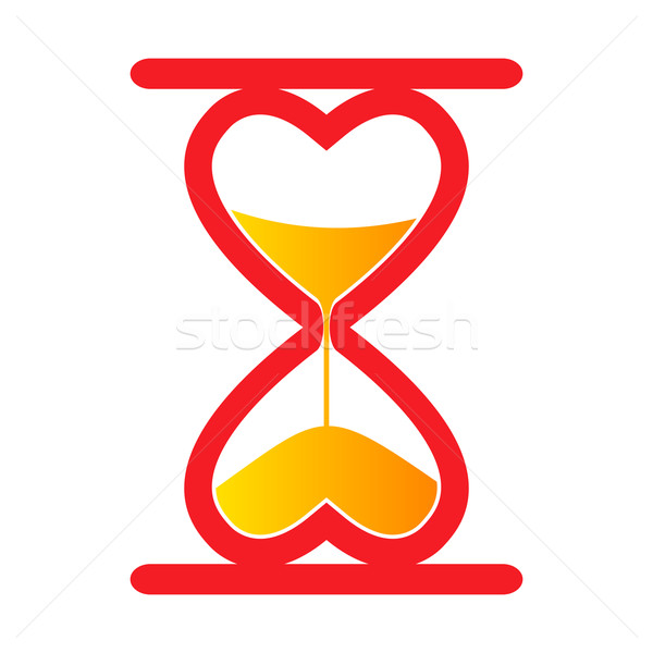Kum saat kırmızı soyut kalp düğün Stok fotoğraf © toponium
