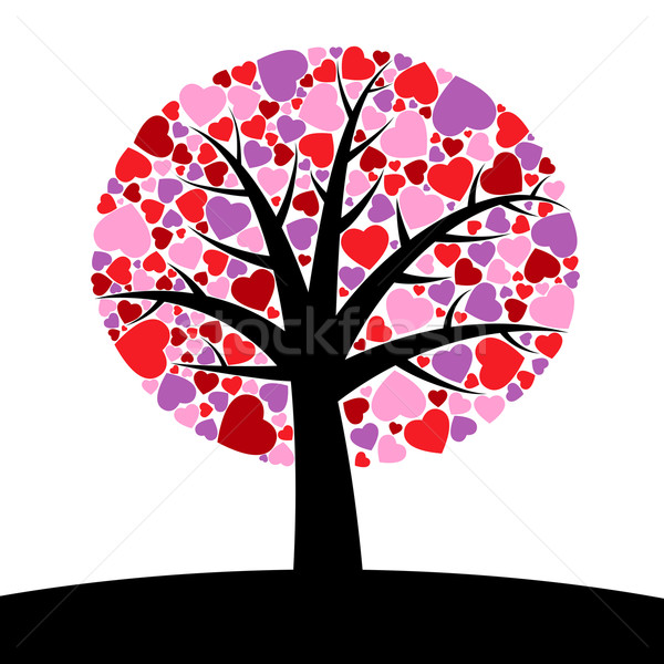 árvore corações simples primavera casamento floresta Foto stock © toponium