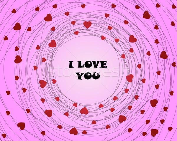 Amour rose carte coeurs heureux Photo stock © toponium