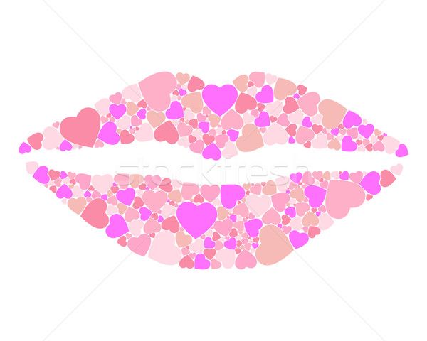 Lábios corações pin casamento amor coração Foto stock © toponium