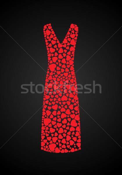 Coeurs robe longtemps élégante couvert mariage Photo stock © toponium
