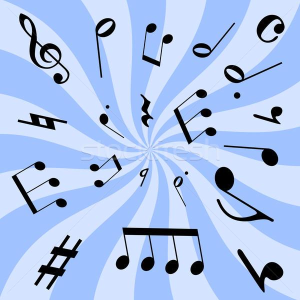 Notas musicais musical símbolos azul redemoinho música Foto stock © toponium