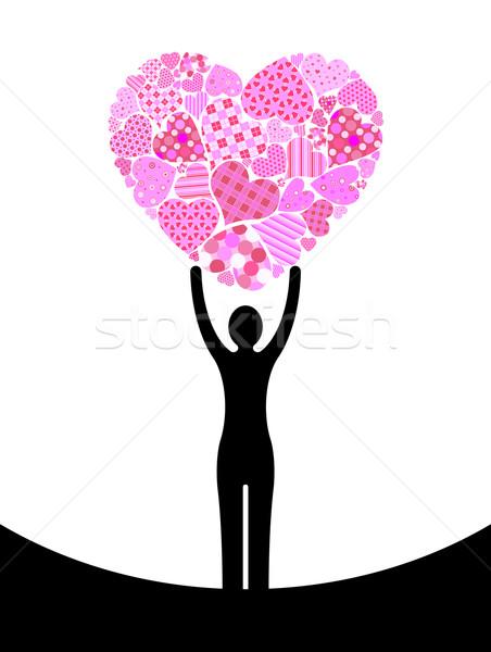 Mulher coração abstrato silhueta feliz projeto Foto stock © toponium