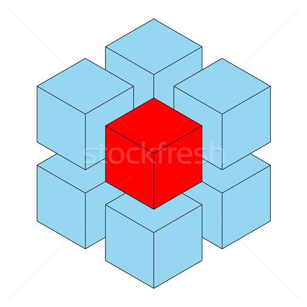 Küp mavi üç boyutlu kırmızı bir Stok fotoğraf © toponium
