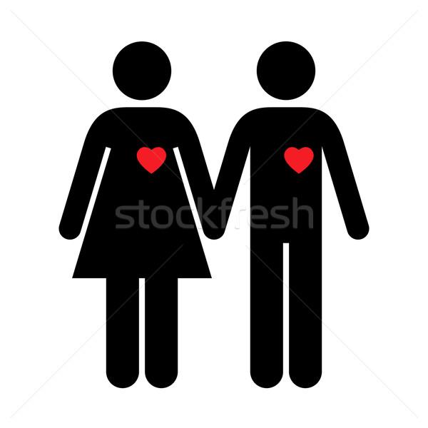 Couple silhouettes rouge coeurs homme coeur Photo stock © toponium