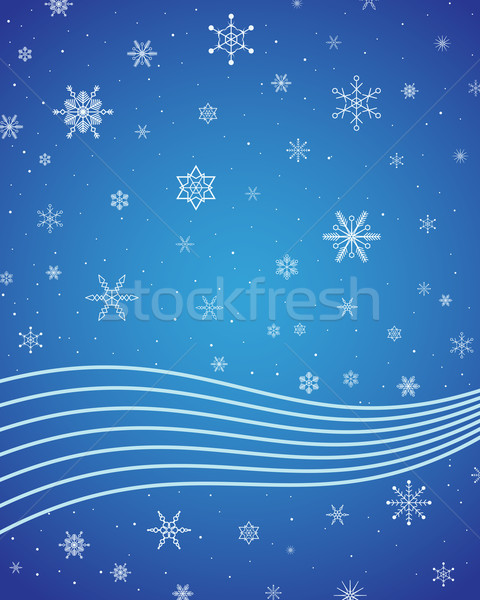 Flocons de neige vagues bleu design beauté Photo stock © toponium