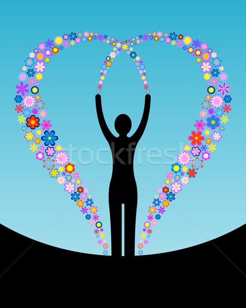 Kadın çiçekler siluet uçan kalp çiçek Stok fotoğraf © toponium