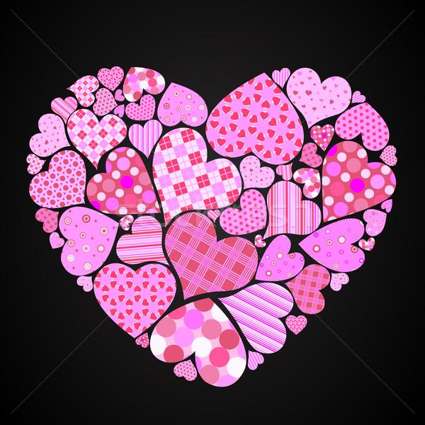 Coração grande pequeno corações diferente padrões Foto stock © toponium