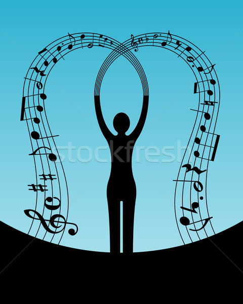 Femme musique résumé silhouette design fond Photo stock © toponium