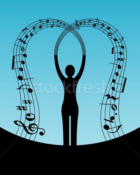 Mulher música abstrato silhueta projeto fundo Foto stock © toponium