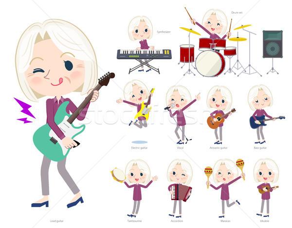 purple shirt old women White_pop music Stock photo © toyotoyo