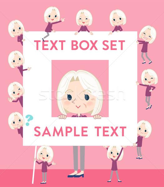 purple shirt old women White_text box Stock photo © toyotoyo