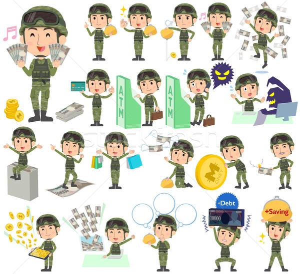 Katonaság visel férfi pénz szett különböző Stock fotó © toyotoyo