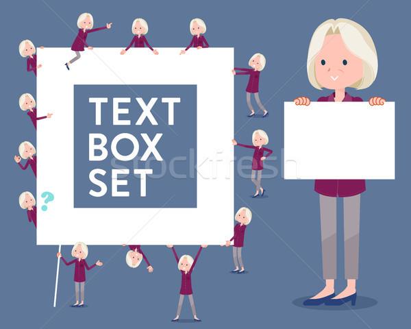 flat type purple shirt old women White_text box Stock photo © toyotoyo