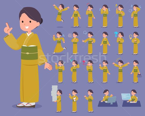 Tip sarı kimono kadın çalışma üzücü Stok fotoğraf © toyotoyo