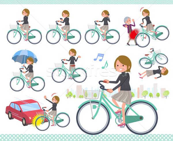 flat type Short hair women_city cycle Stock photo © toyotoyo
