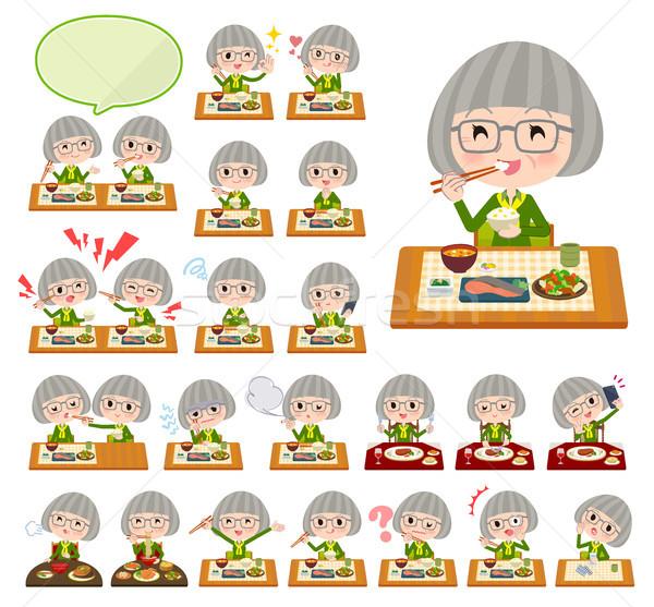 Zöld póló öreg szett idős nők Stock fotó © toyotoyo