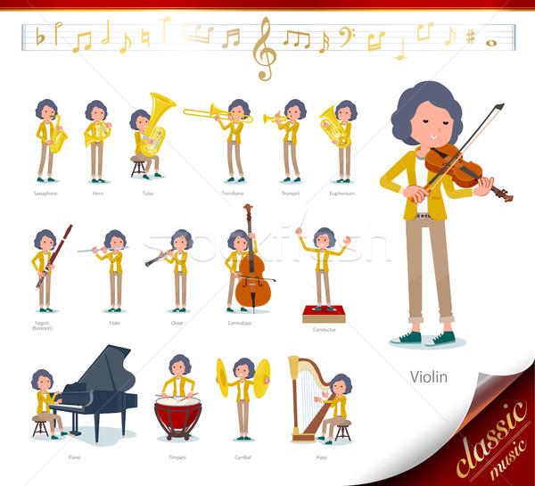 flat type Yellow jacket Middle women_classic music Stock photo © toyotoyo
