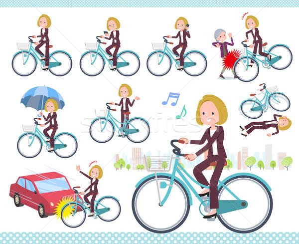 Tipo rubio pelo negocios ciclo establecer Foto stock © toyotoyo
