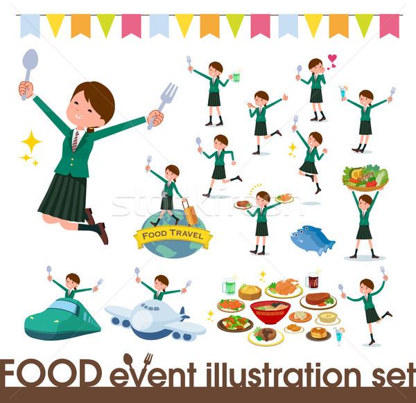 Iskolás lány zöld fesztivál szett étel Stock fotó © toyotoyo