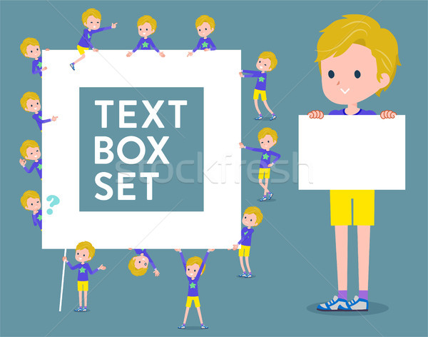 flat type blond hair boy White_text box Stock photo © toyotoyo