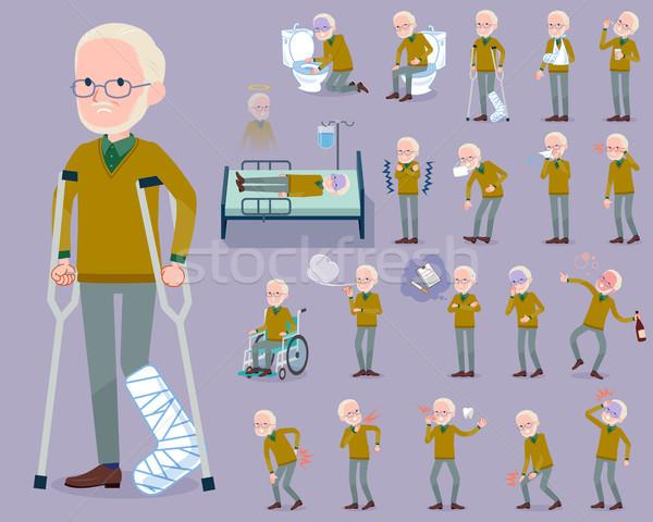 flat type Yellow Ocher knit old man White_sickness Stock photo © toyotoyo