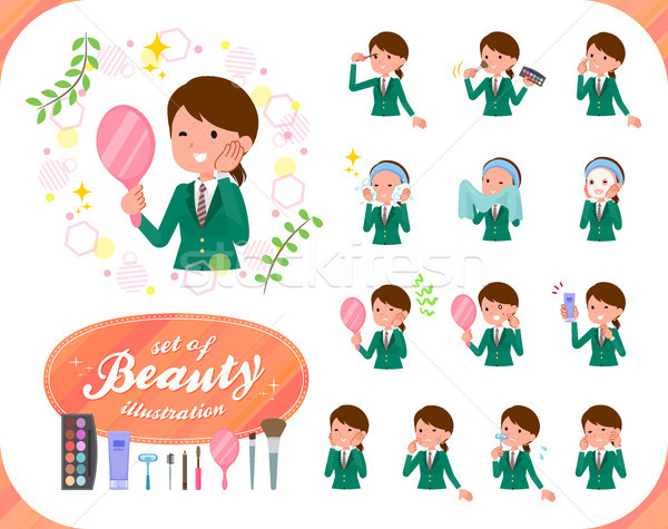 Iskolás lány zöld szett különböző bőrápolás Stock fotó © toyotoyo