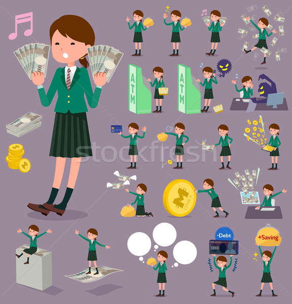 flat type school girl Green Blazer_money Stock photo © toyotoyo