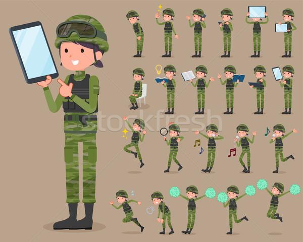Tipo militar desgaste conjunto mulher Foto stock © toyotoyo