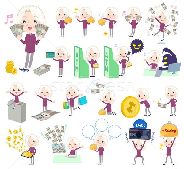 purple shirt old women White_money Stock photo © toyotoyo