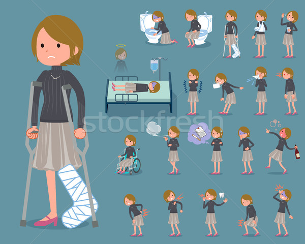 flat type Short hair women_sickness Stock photo © toyotoyo
