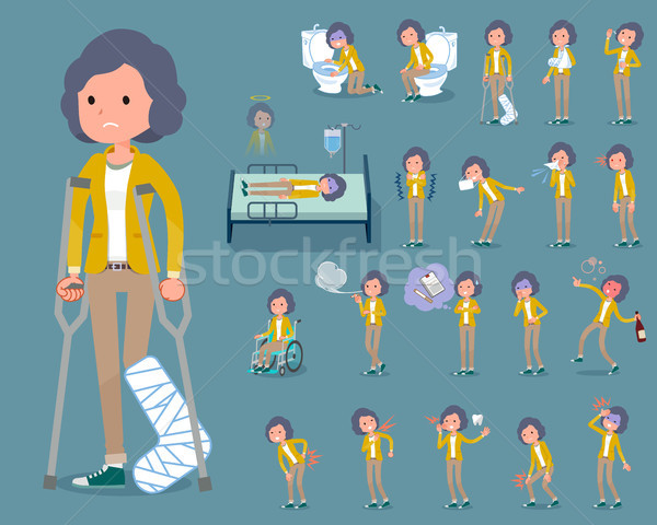 flat type Yellow jacket Middle women_sickness Stock photo © toyotoyo
