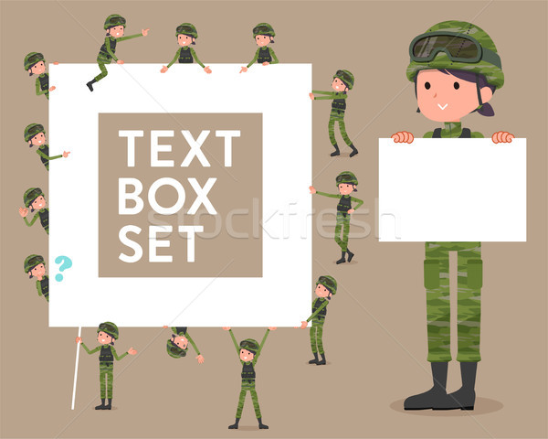 flat type military wear woman_text box Stock photo © toyotoyo